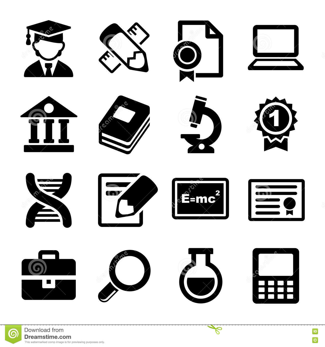 School And Education Icons Set Stock Vector
