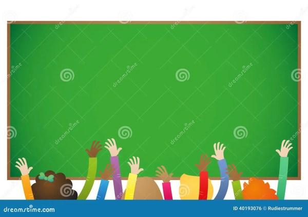 School Education Kids Raising Hands Stock Vector