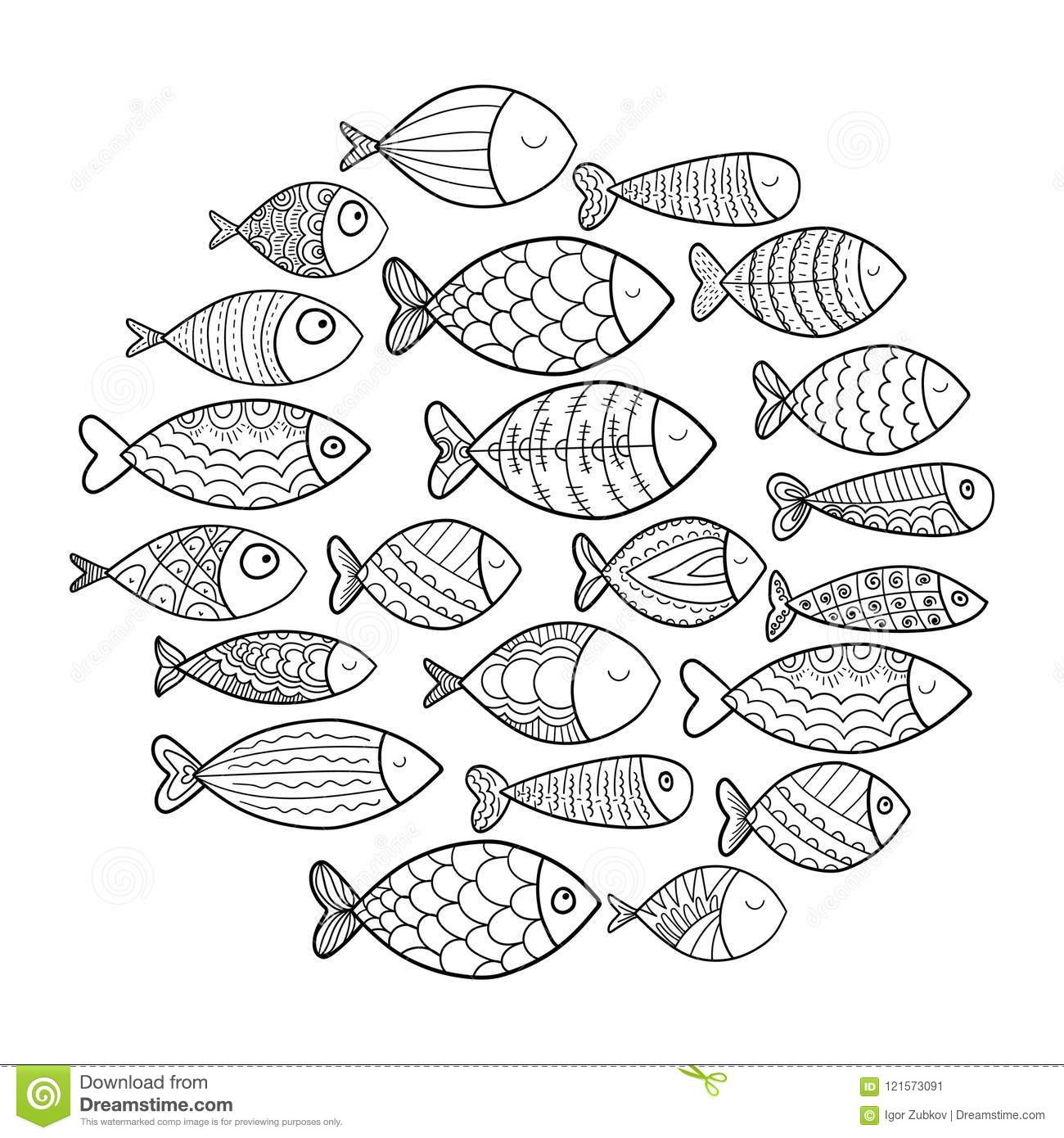 School Of Fish A Group Of Stylized Fish Swimming In A