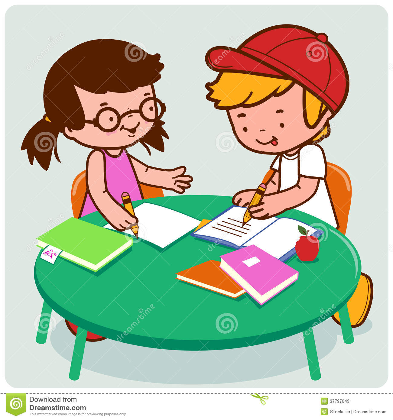 School Friends Doing Homework Stock Vector