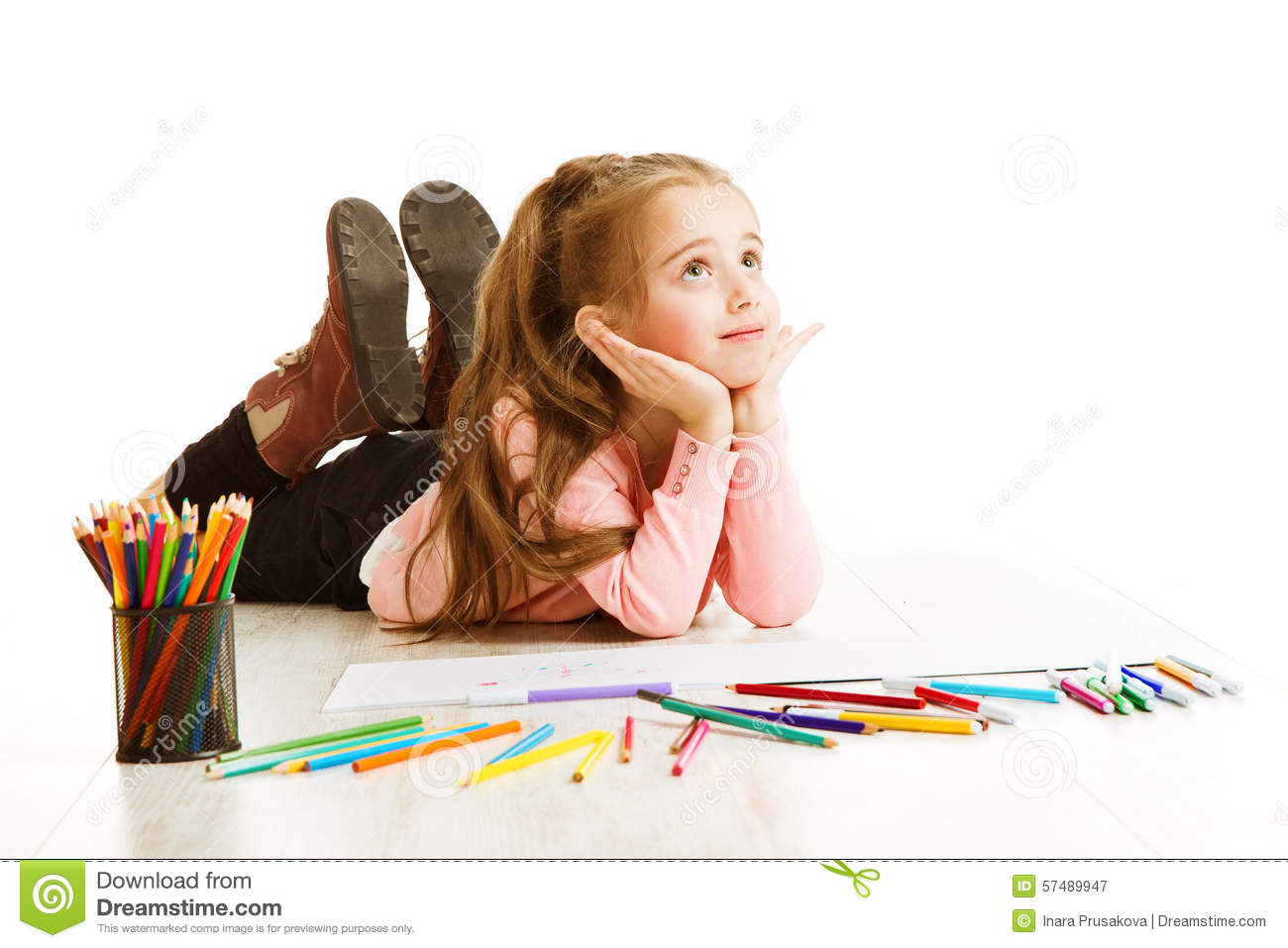 hight resolution of school kid thinking education inspiration child girl dreaming