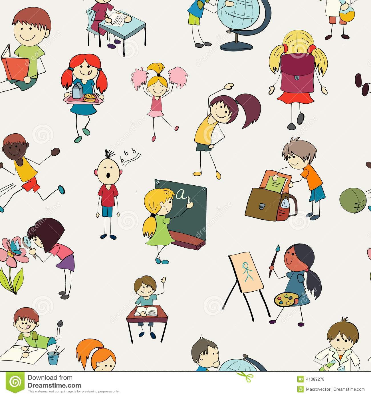 School Kids Doodle Seamless Pattern Stock Vector