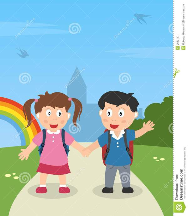 School Kids Walking In Park Stock Vector - Illustration Of Colourful Holding 26631371