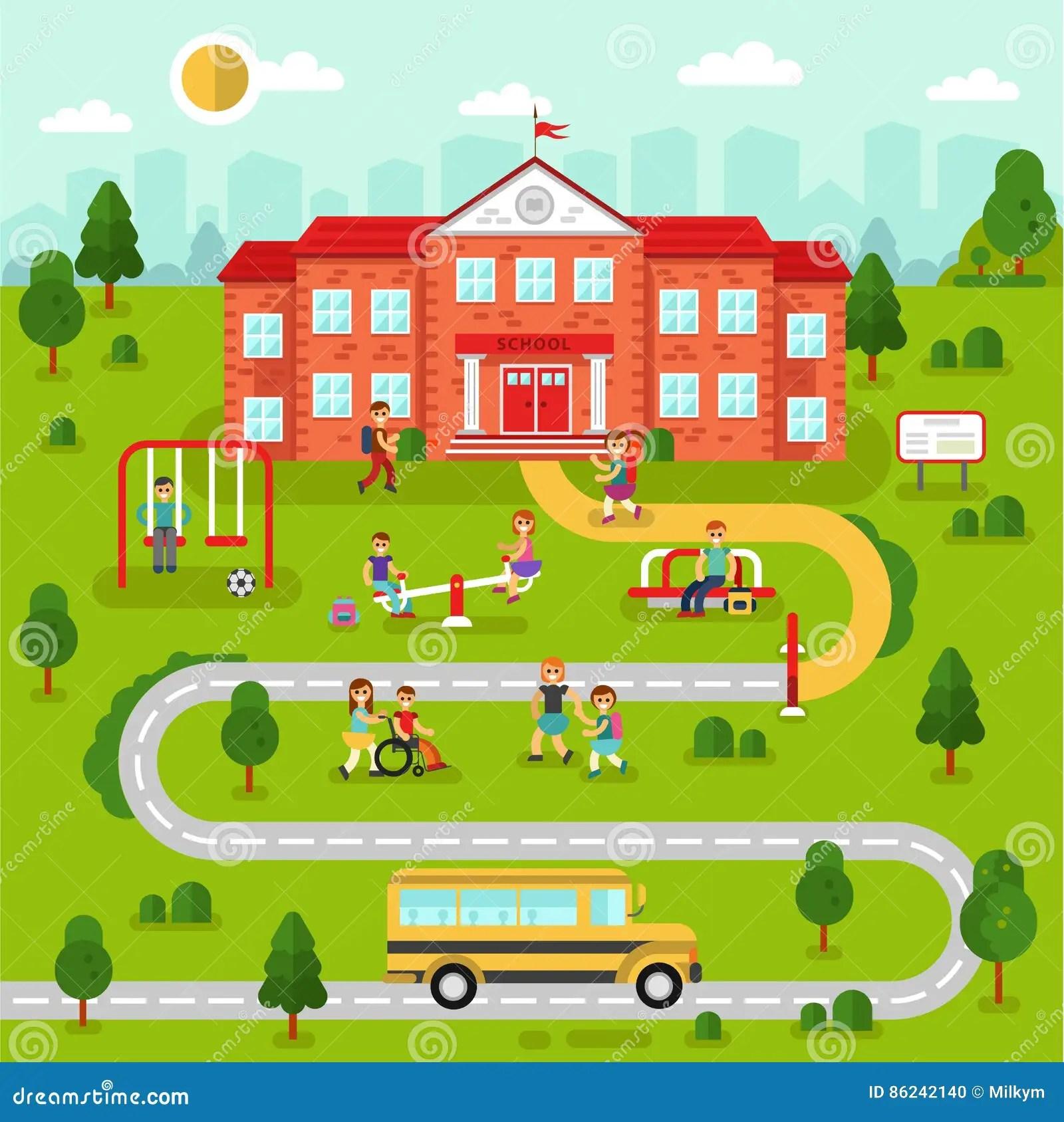 School Map Stock Vector Illustration Of Outdoor Concept