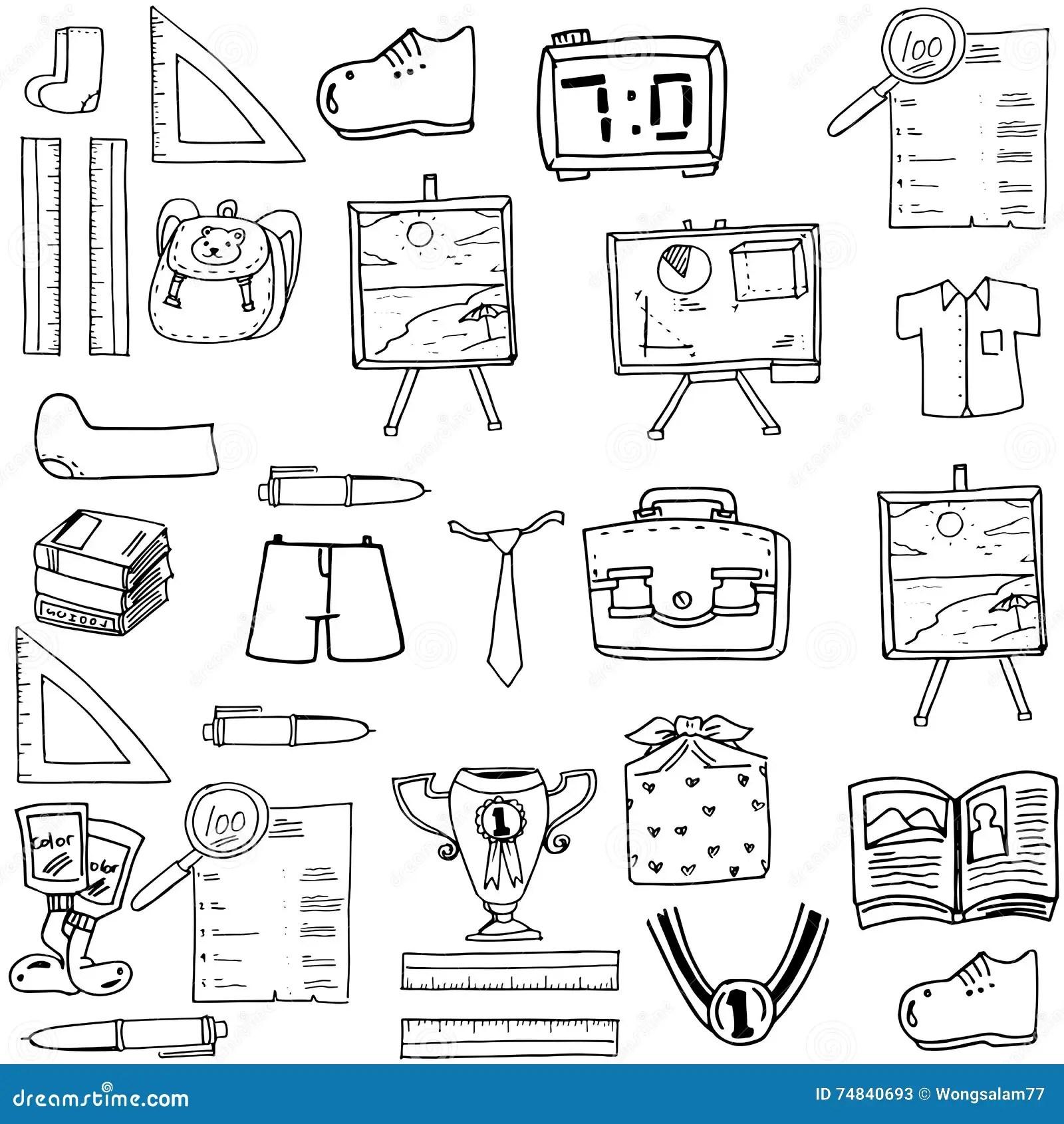 School Object Doodles Classroom Supplies Stock