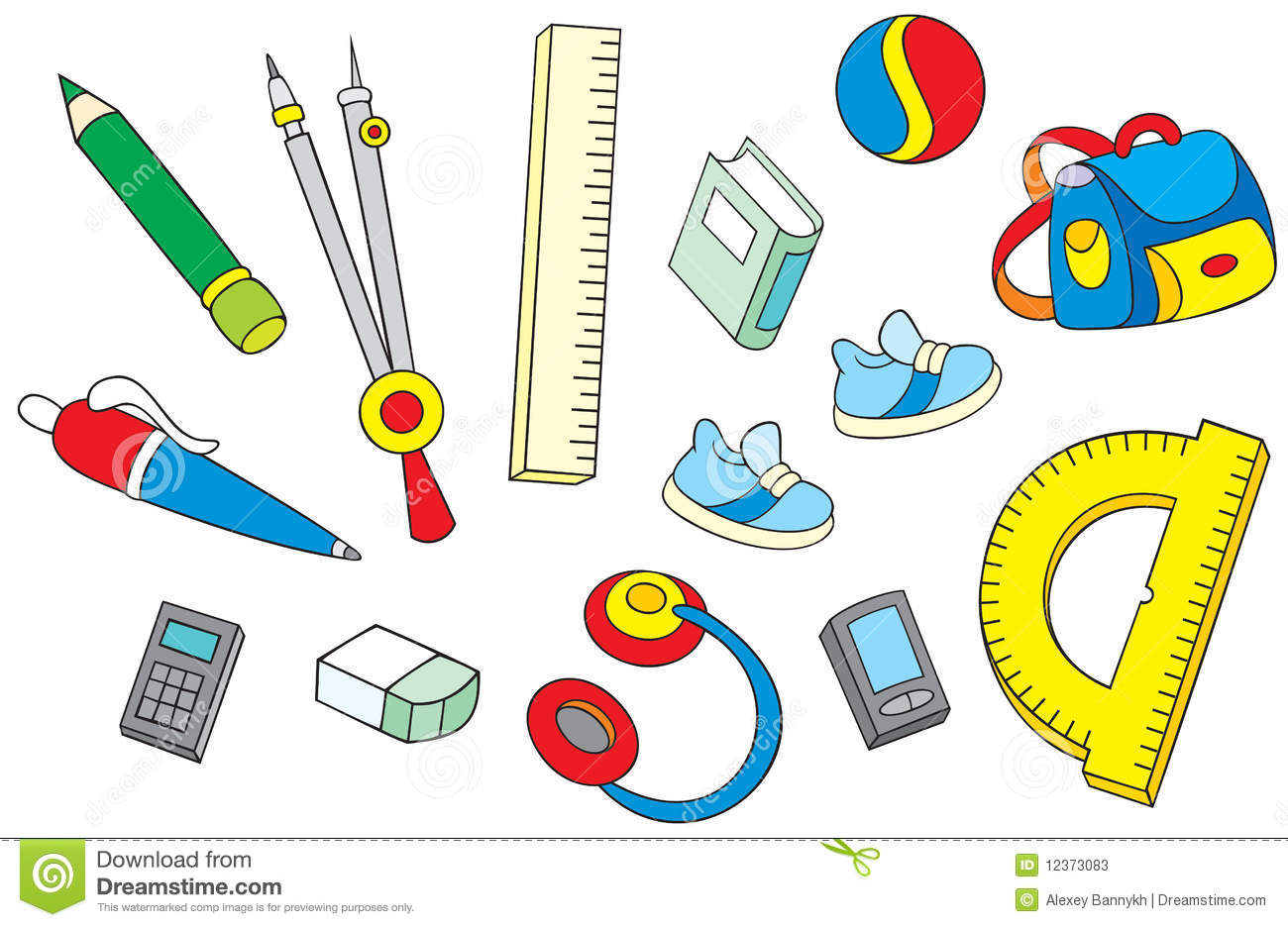 School Objects Stock Vector Illustration Of Textbook