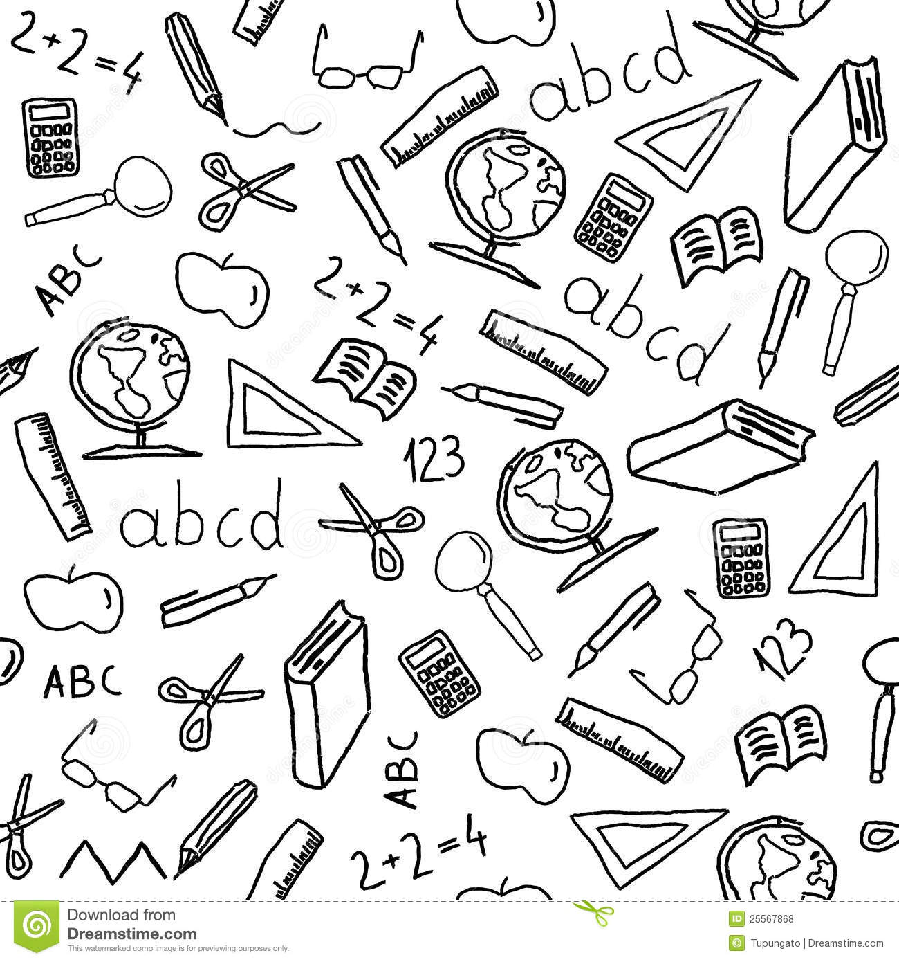 School Objects Stock Vector Illustration Of Icons Apple