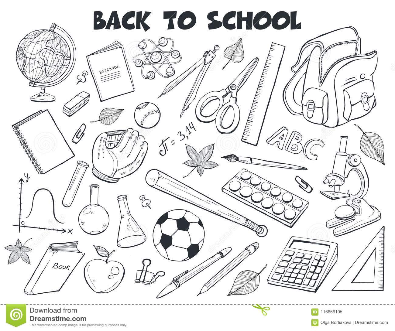 School Objects Vector Collection Stock Vector