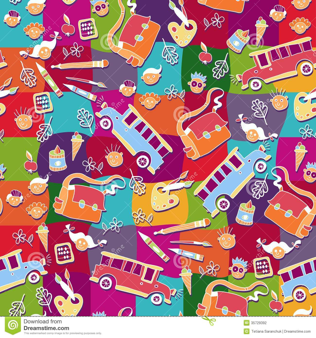 School Pattern Background Stock Vector Image Of Book