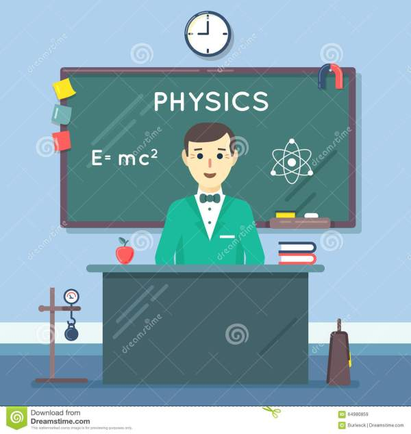 School Physics Teacher In Audience. Vector Flat Stock