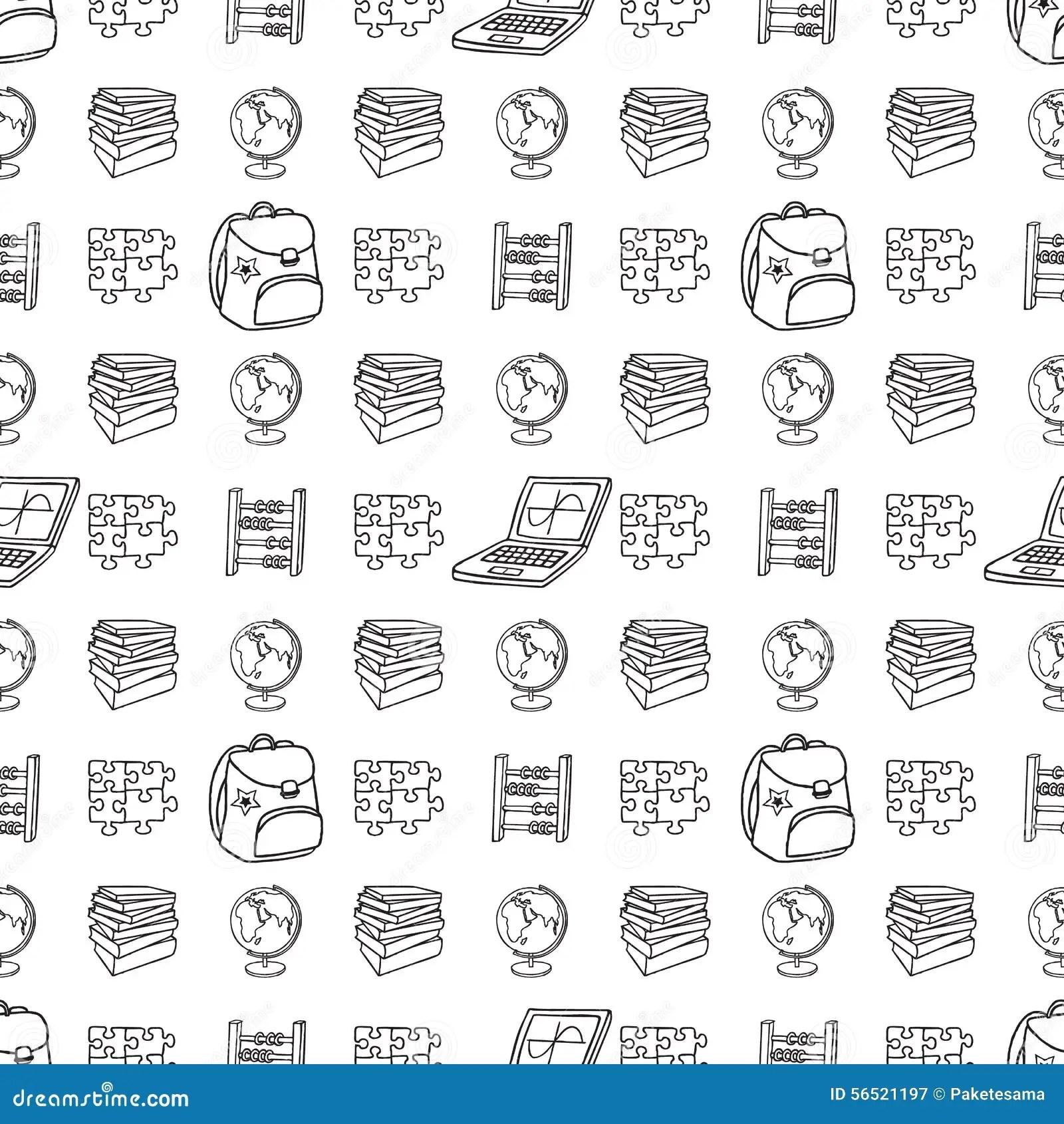 School Seamless Pattern Stock Vector Illustration Of Line
