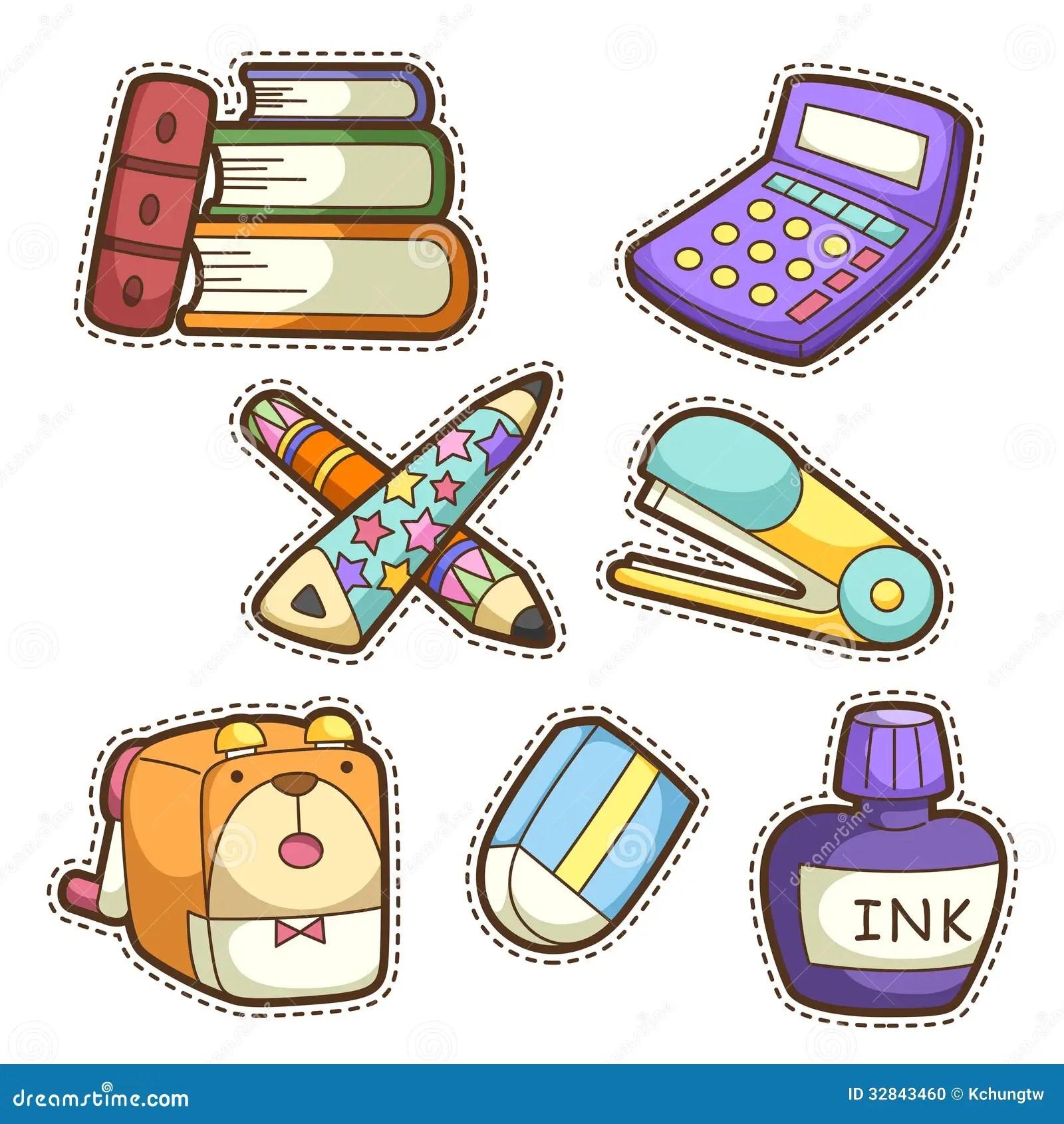 School Set Set Of Different School Items Stock Vector