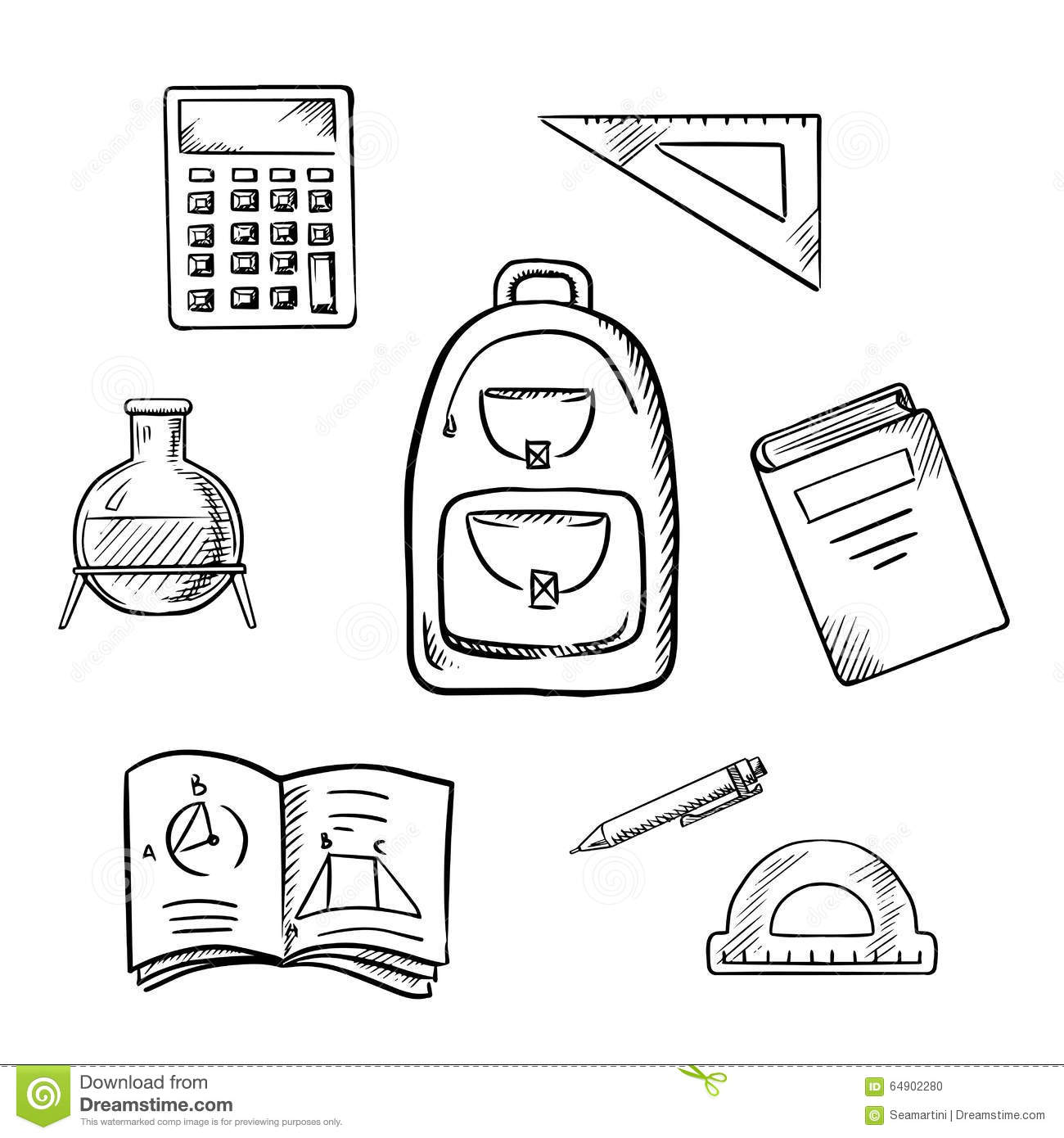 School Sketch Icons With Education Supplies Stock Vector