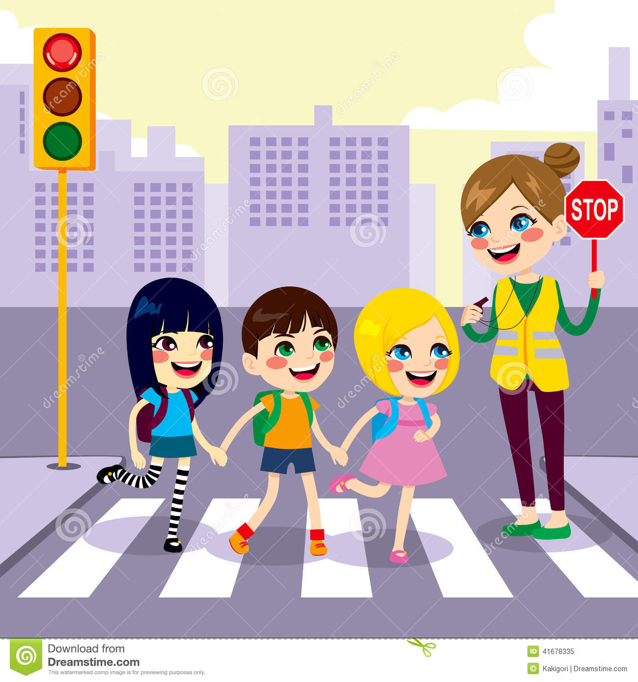 hight resolution of school students crossing street