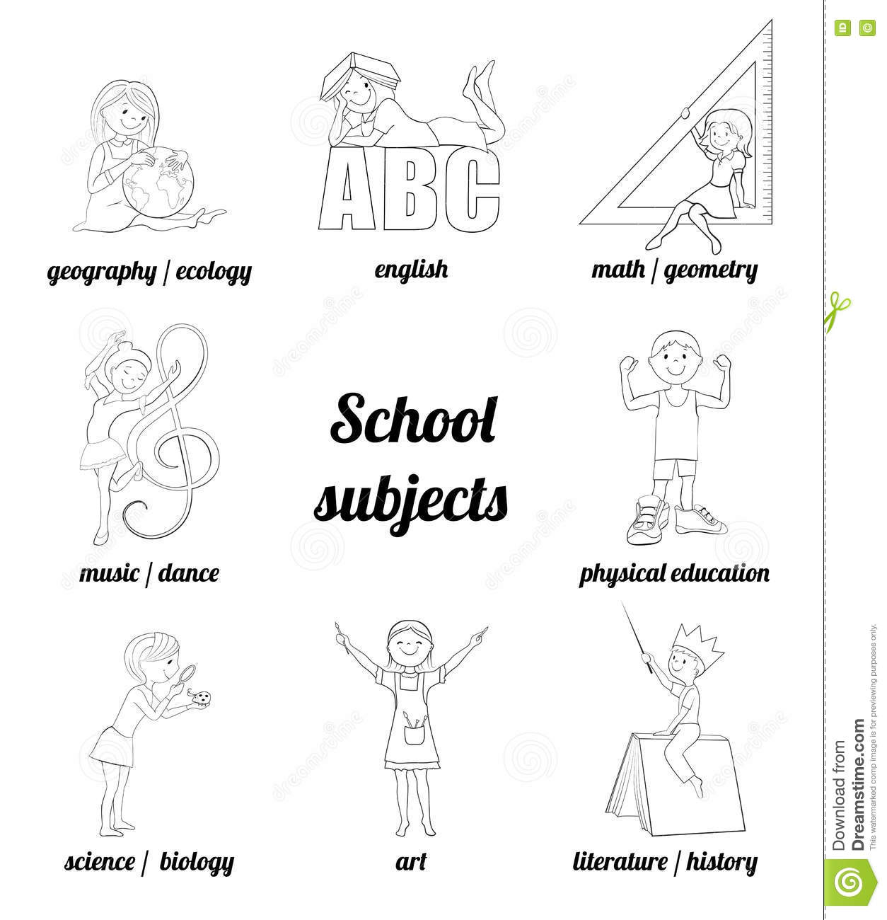 School Subject Coloring Pages Sketch Coloring Page