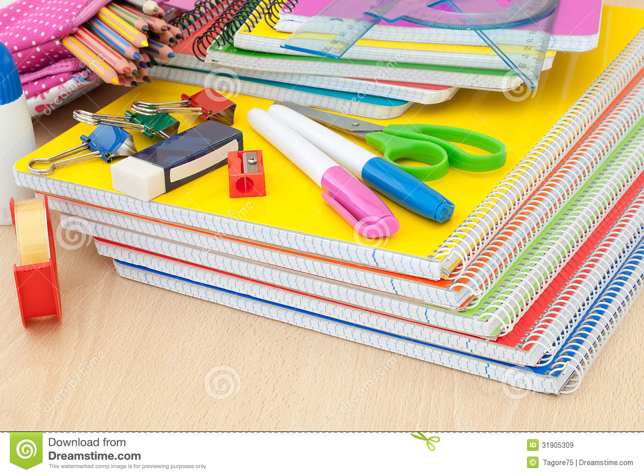 School Supplies On Desk Royalty Free Stock Images  Image