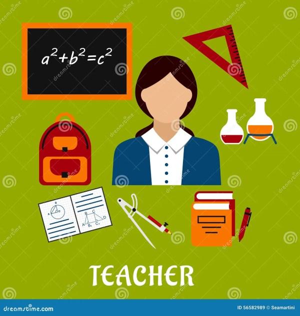 School Teacher With Education Icons