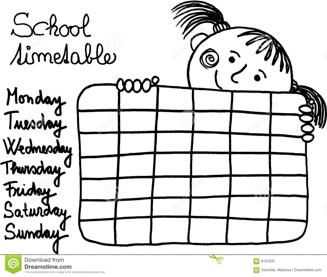 School Timetable Stock Vector Illustration Of Word