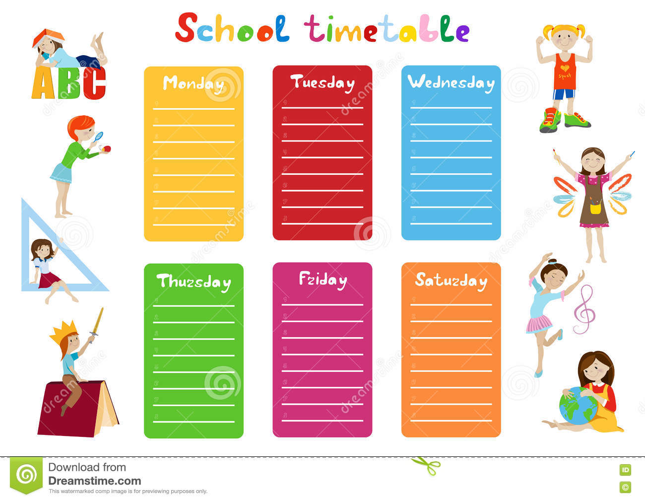 School Timetable Kids Weekly Schedule Vector Stock Vector