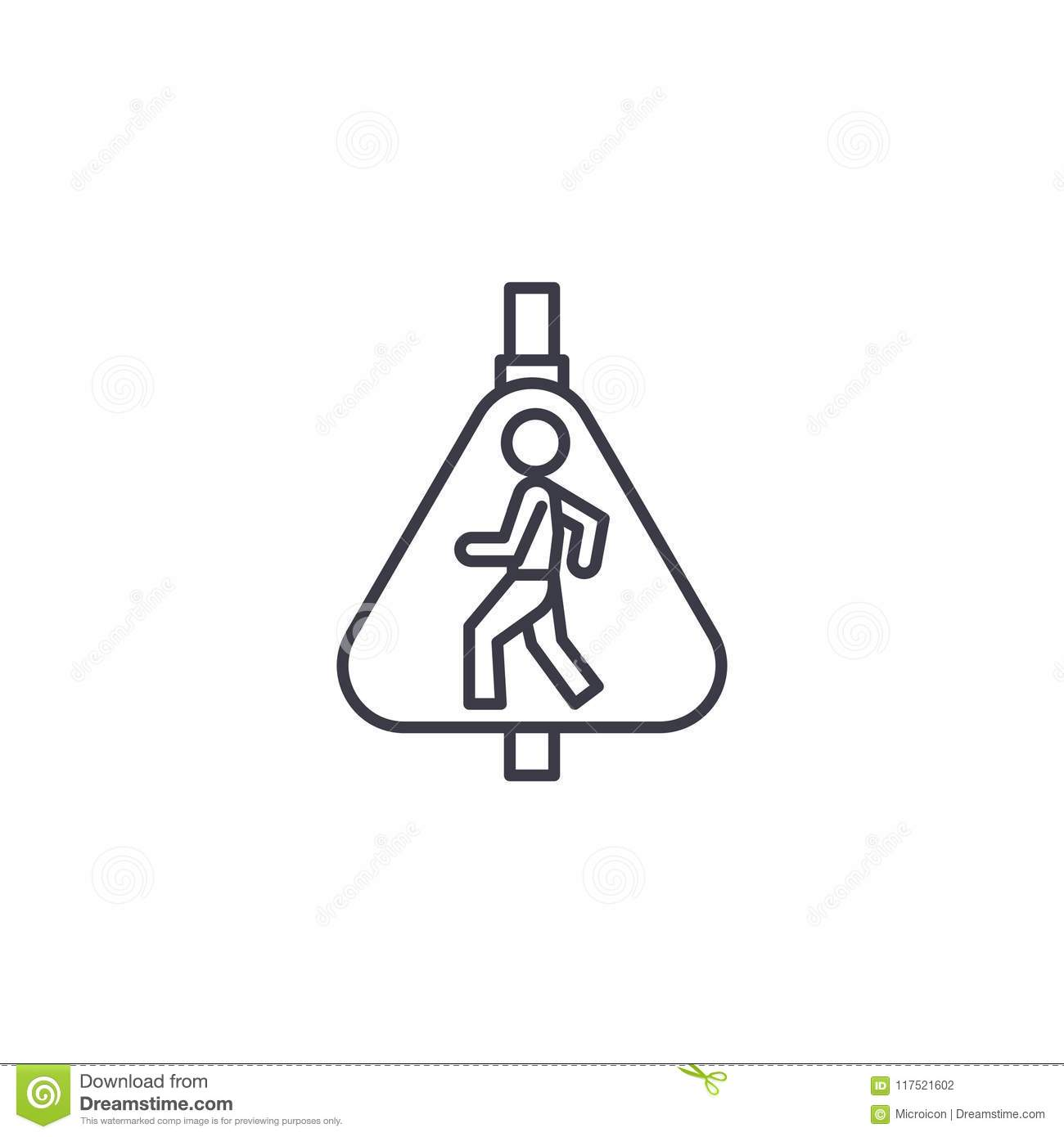 Warning Sign For Pedestrian Crossing Stock Photo
