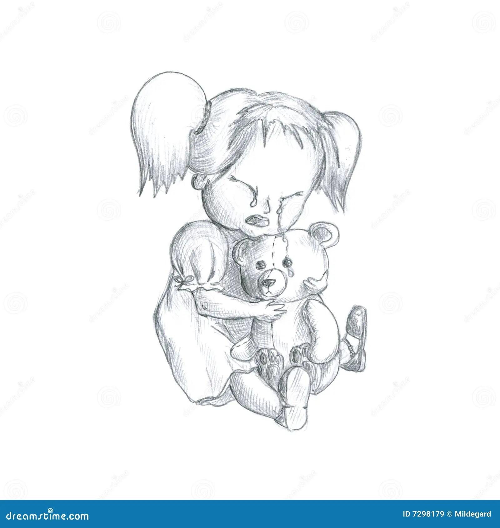 Schreiendes Madchen Mit Teddybar Tragen Lizenzfreie