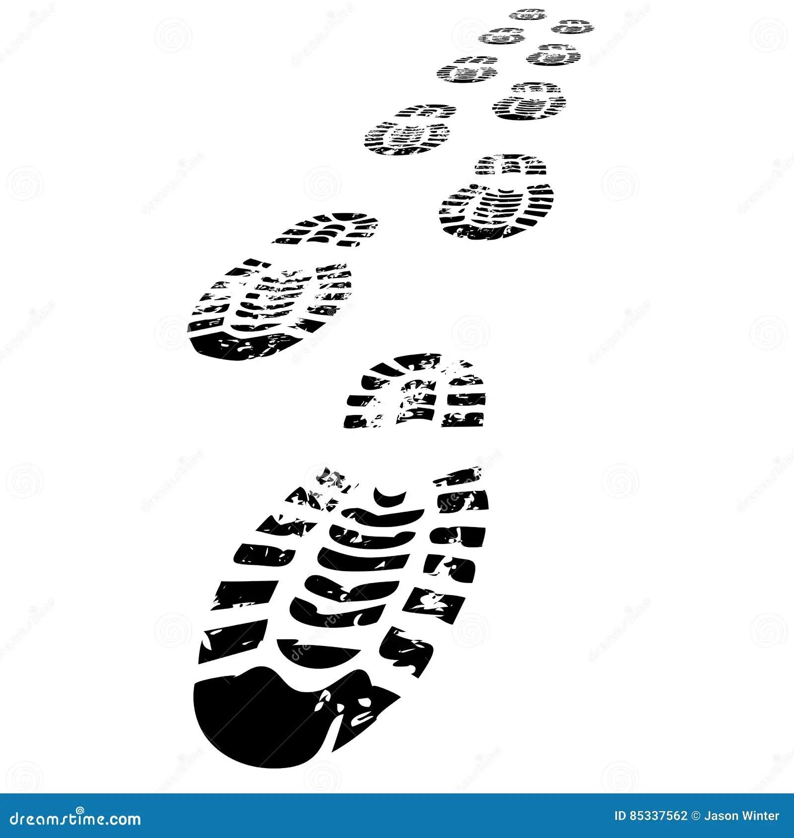 Schuhabdrucke Vorwarts Gehen Vektor Abbildung