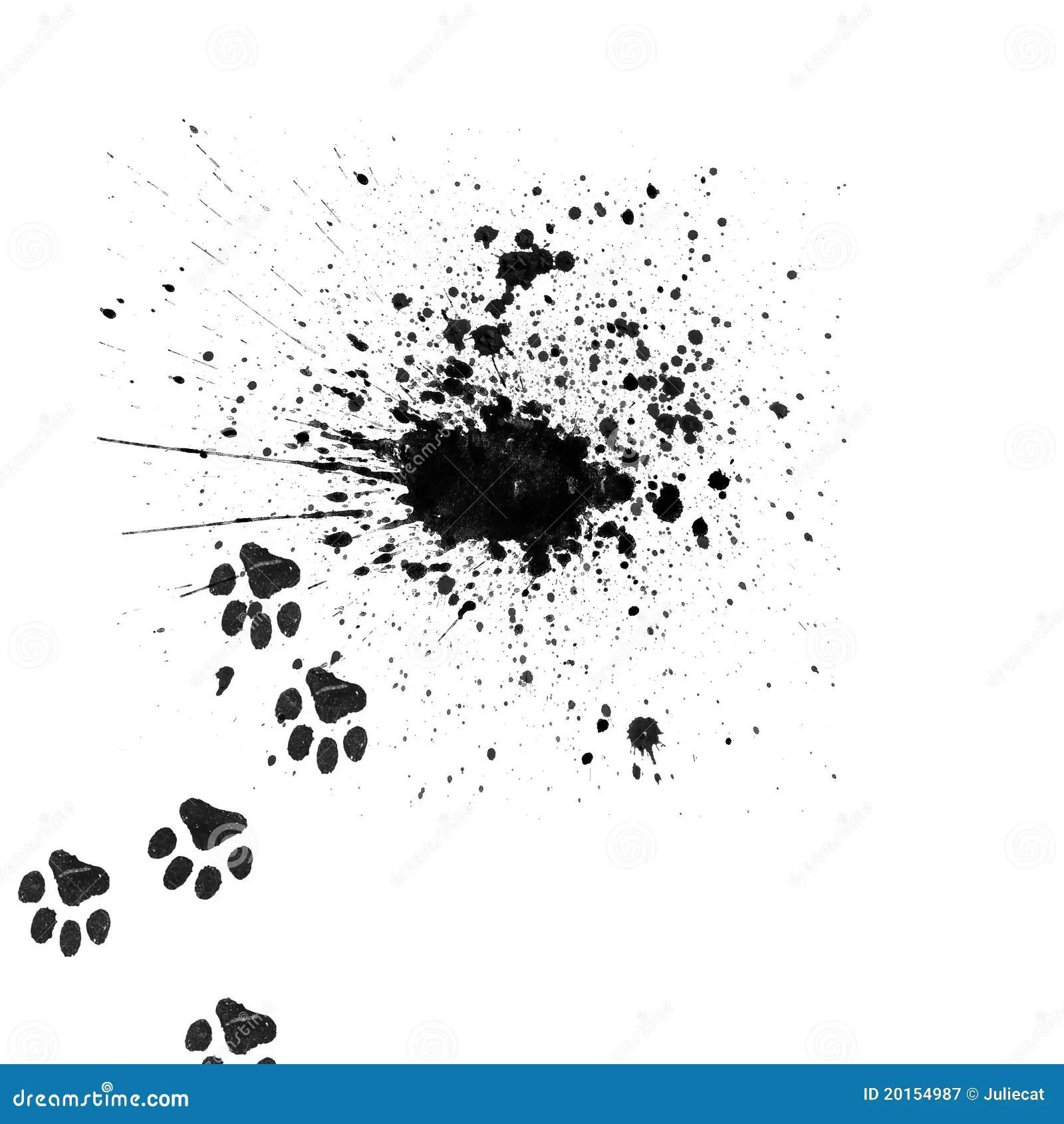 Schwarzer Splatter Mit Den Tatzen Der Katze Stock