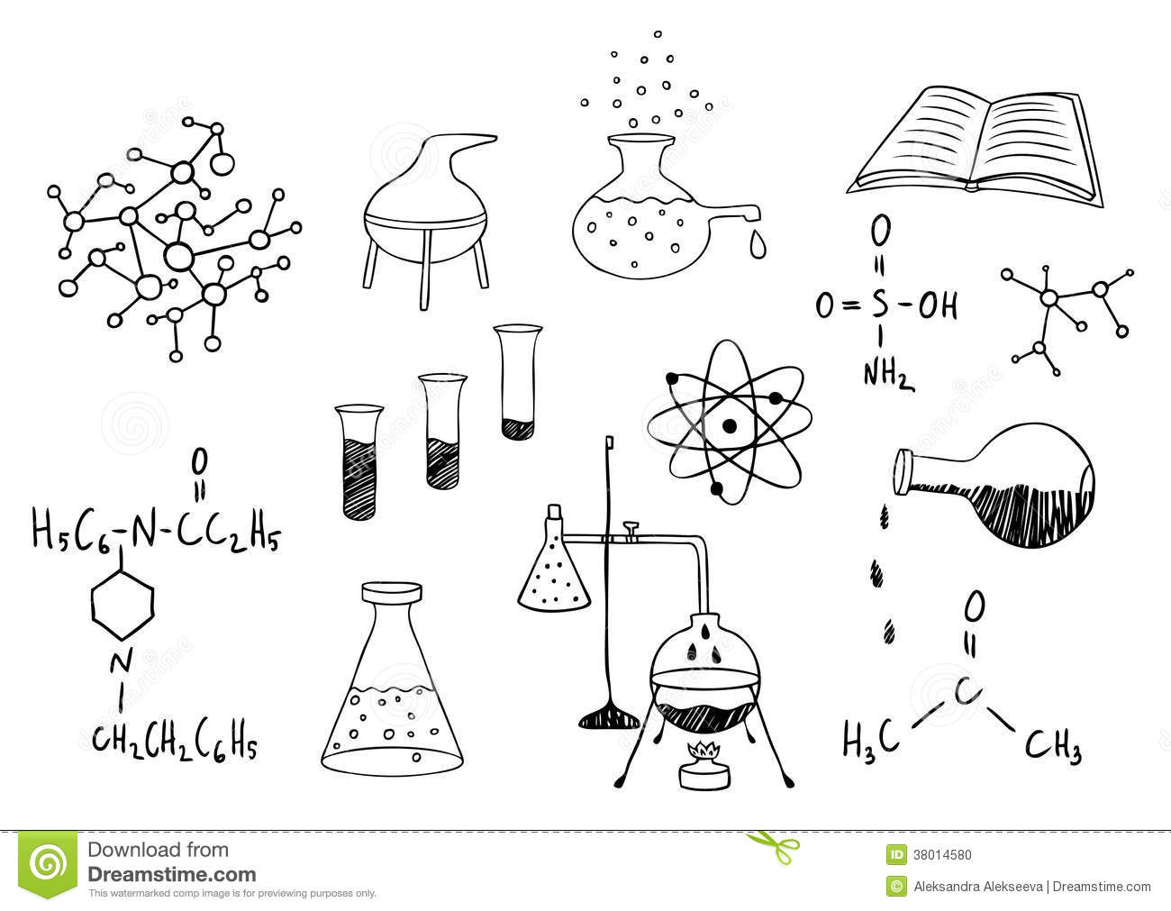 Science and chemistry set stock vector. Image of