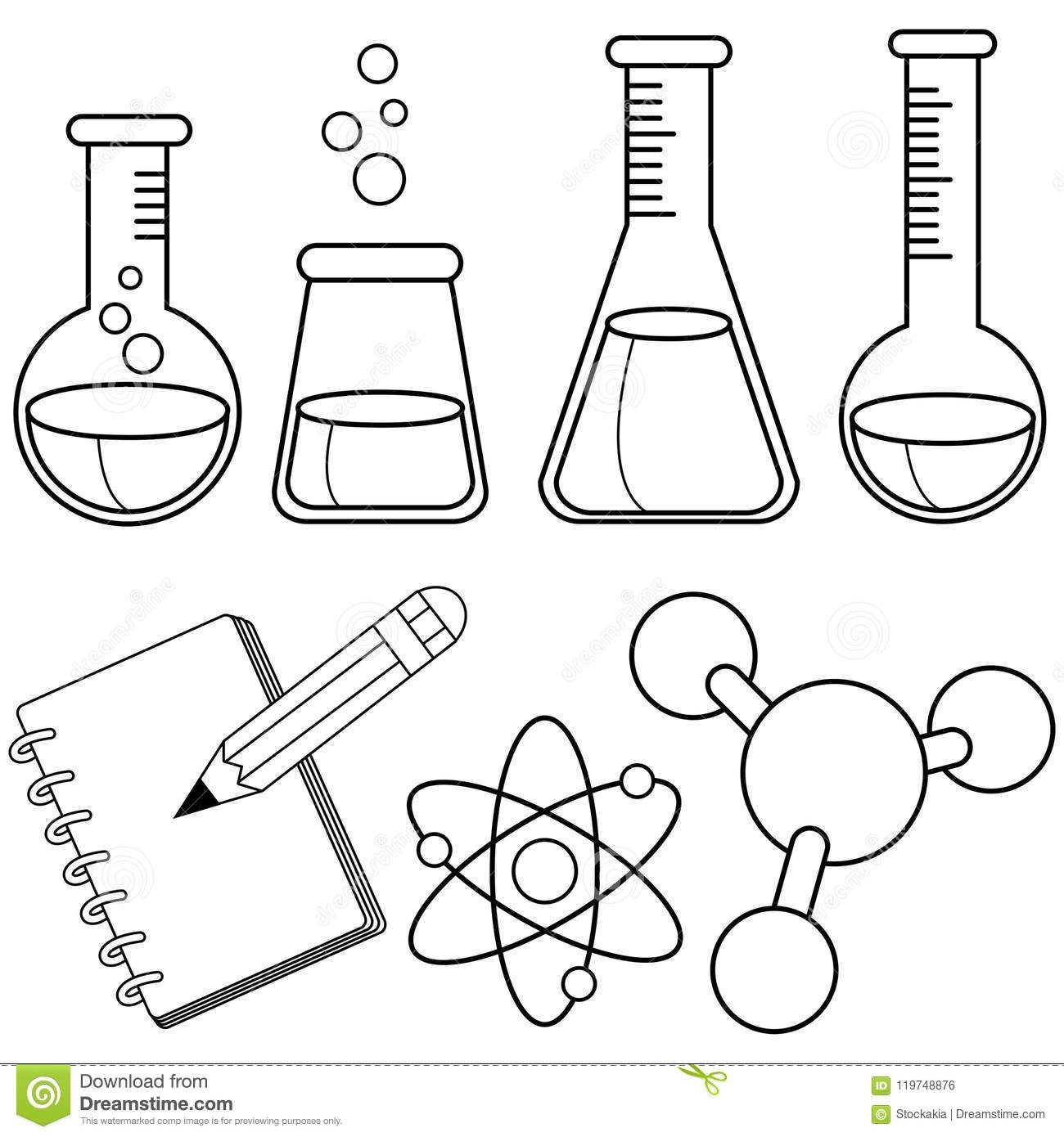 Science And Chemistry Set. Black And White Coloring Book
