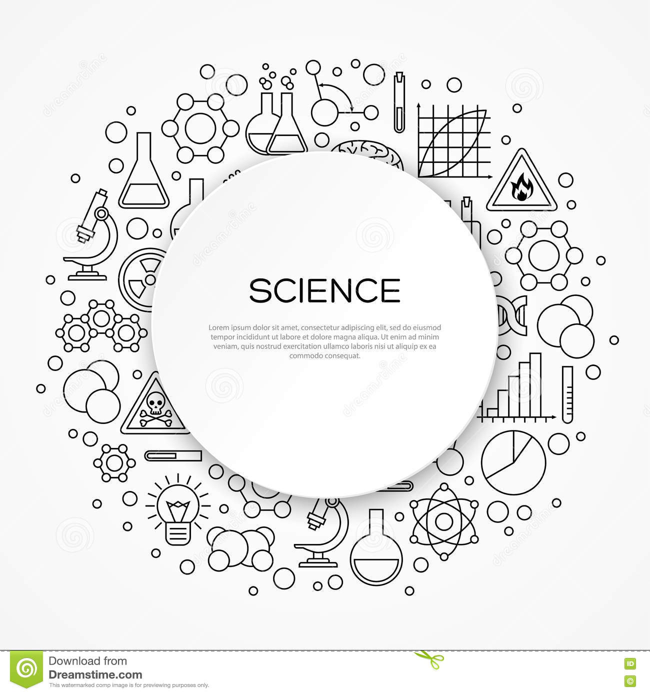 Science Education Background With Round Frame Stock Vector