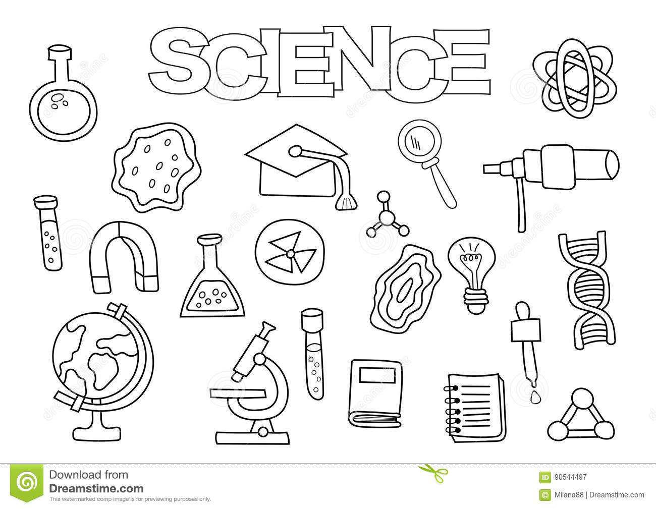 Science Elements Hand Drawn Set. Coloring Book Template