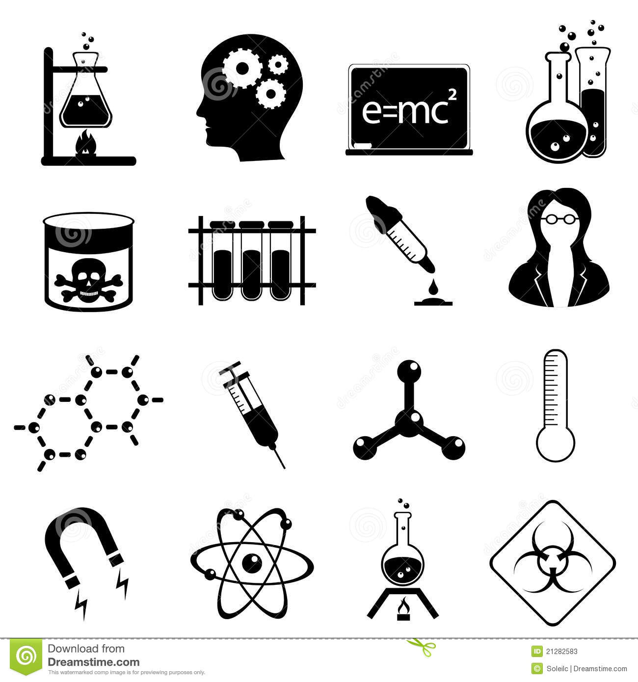 Science icon set stock vector. Illustration of material