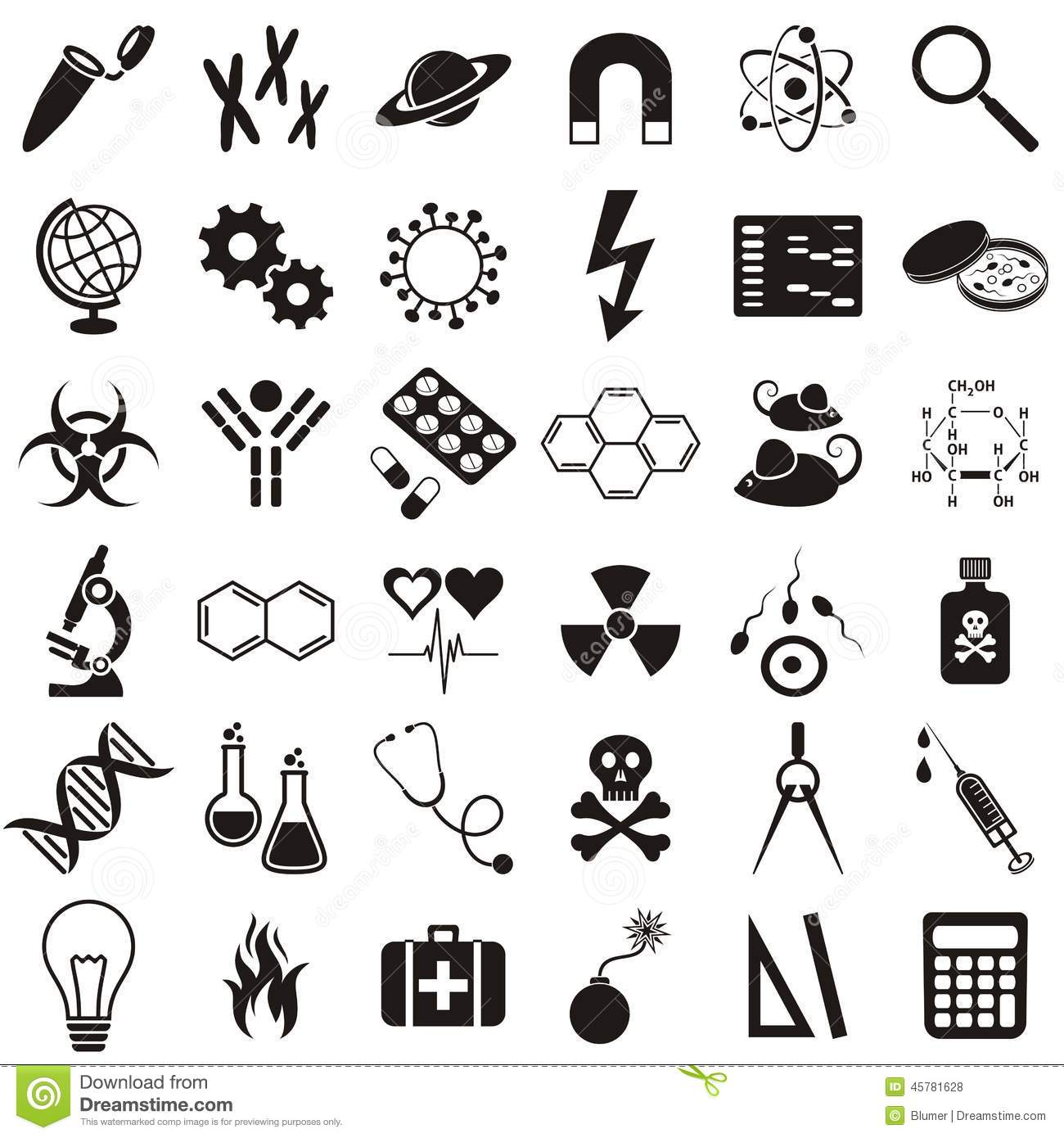 Immunology Research Icons Vector Illustration