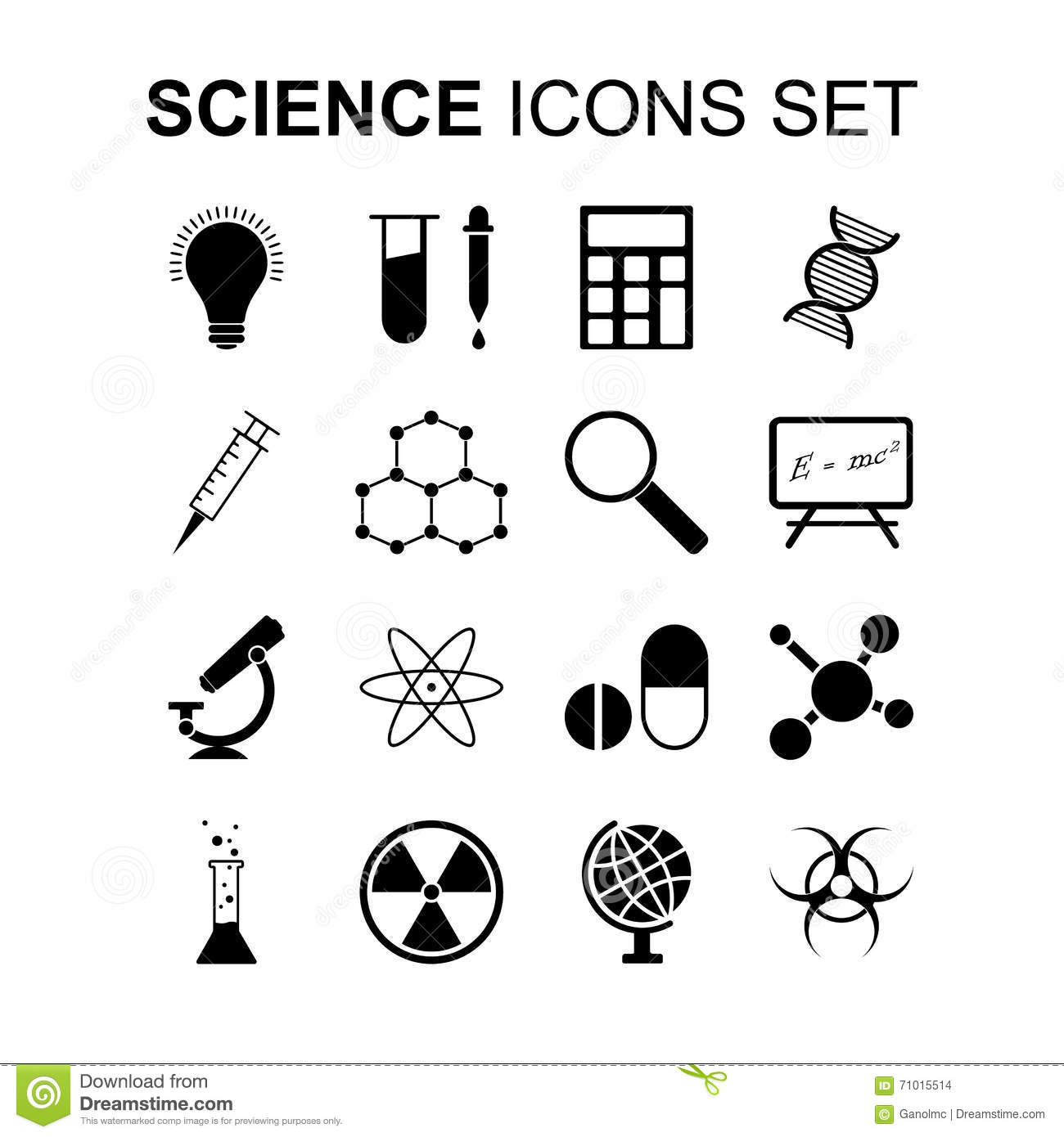 Science Icons Set. Vector Illustration Stock Vector
