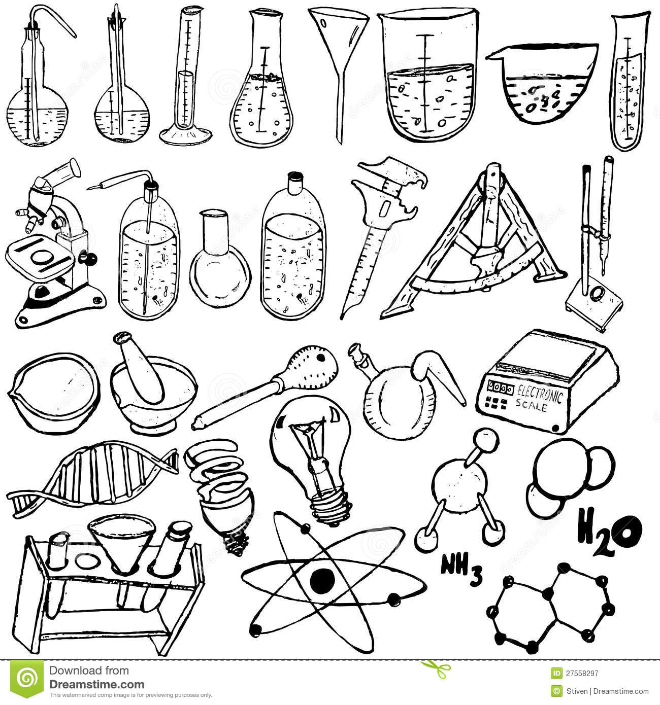 Science Icons Sketch Royalty Free Stock Photography
