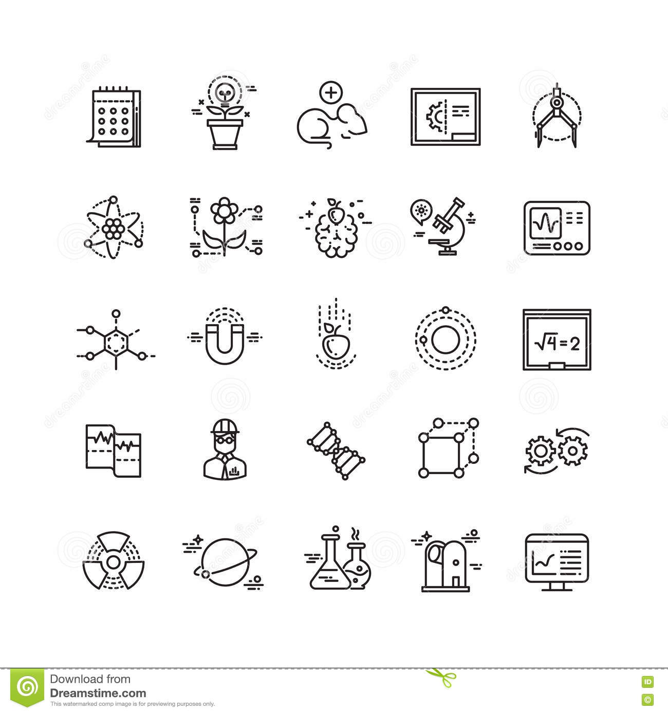 Science Lab Innovation Chemical Research Thin Line Vector Icons Stock Vector