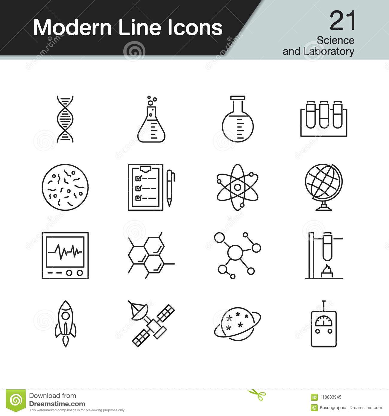 Science Vector Icons. Chemistry, Physics And Biology