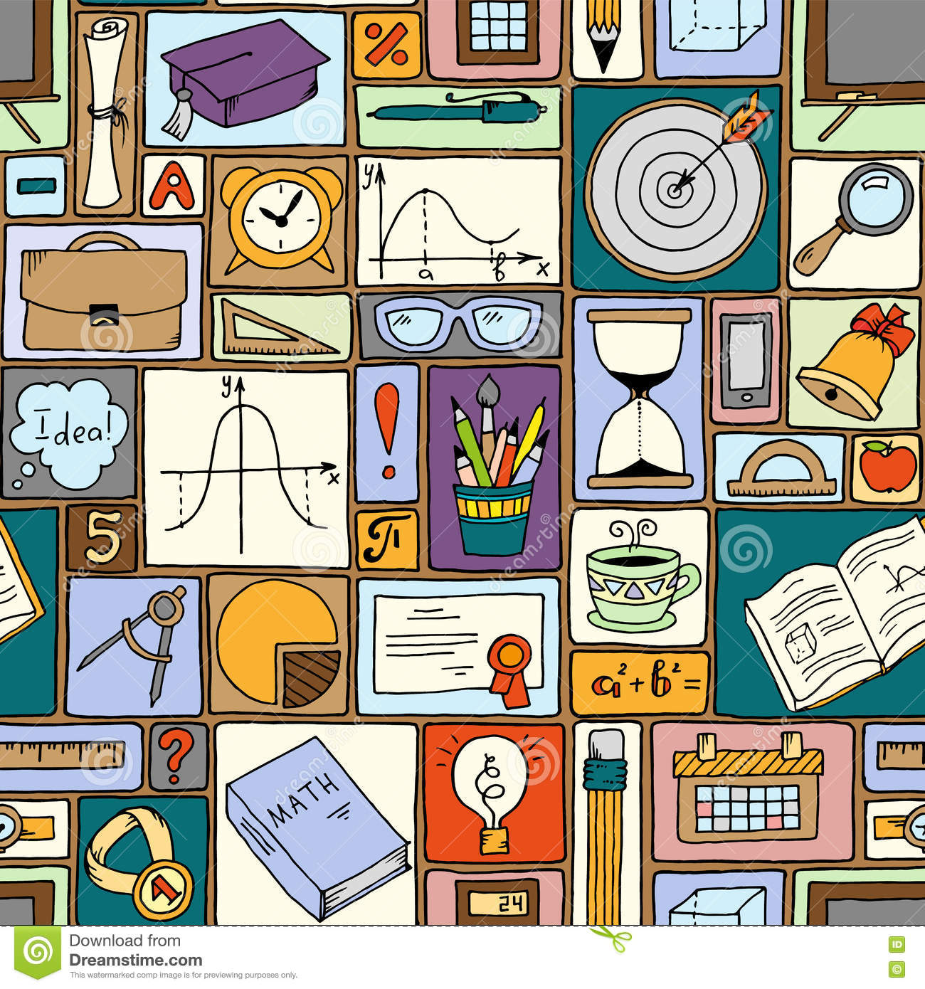 Science Math Theme School Vector Background Doodle Style