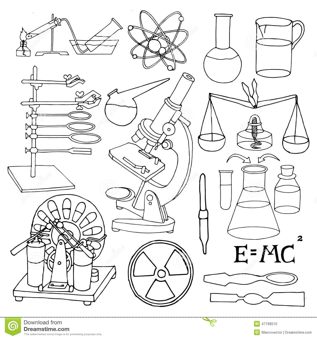 Science sketch icons stock vector. Image of science, icons