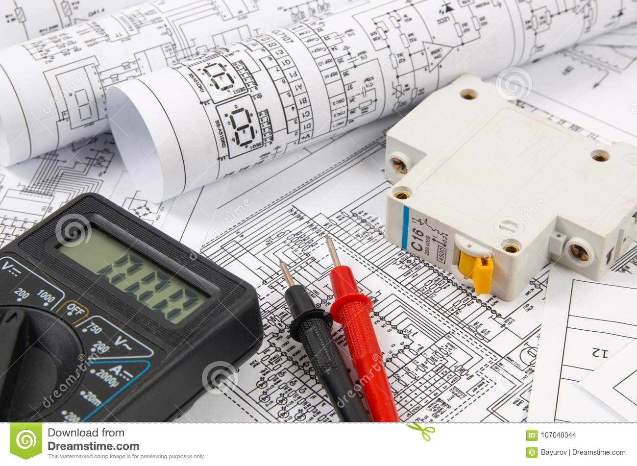 hight resolution of science technology and electronics electrical engineering drawings printing with circuit breaker and mulyimeter