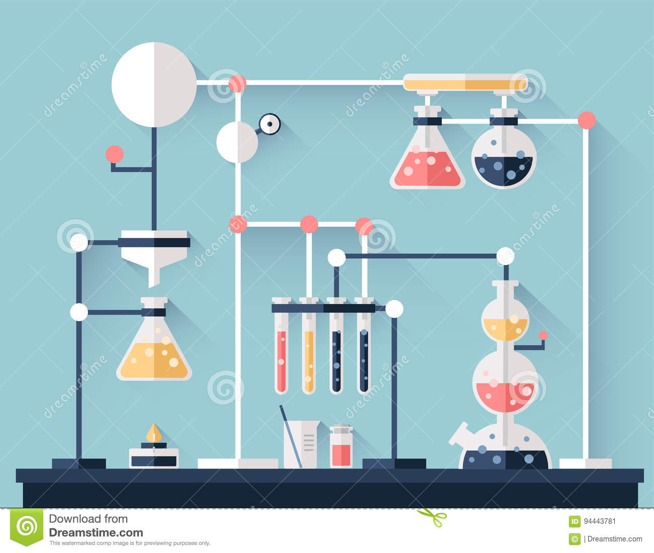 Scientific Chemical Experiment Laboratory Equipment Test Tubes Flasks And Other Laboratory