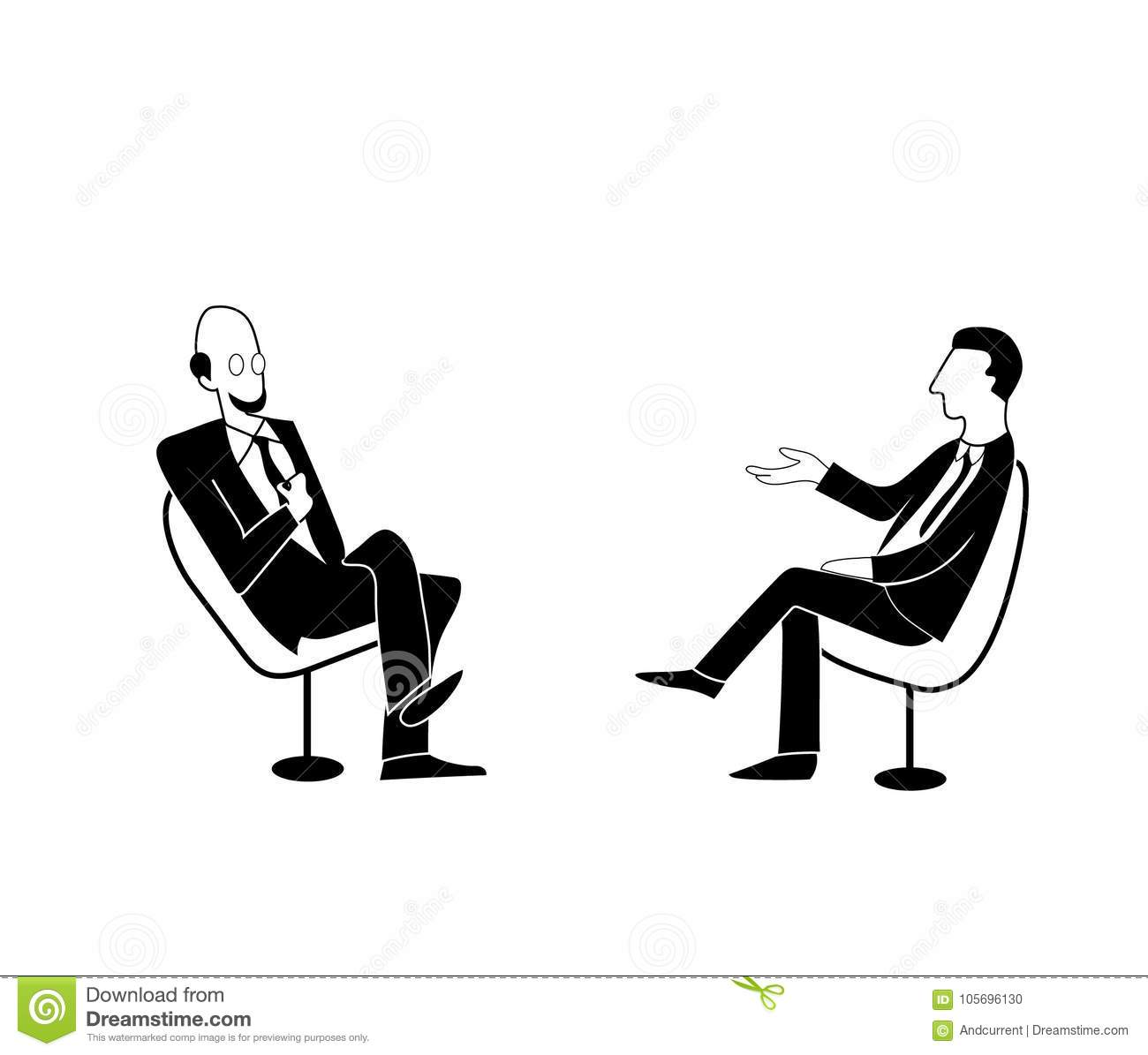 Scientific Or Political Talk Show Vector Drawing Image