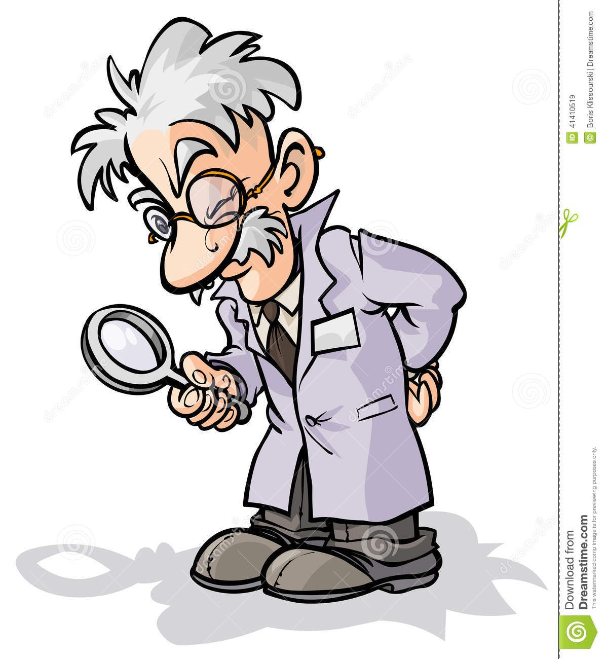 Scientist With A Magnifying Glass Stock Vector