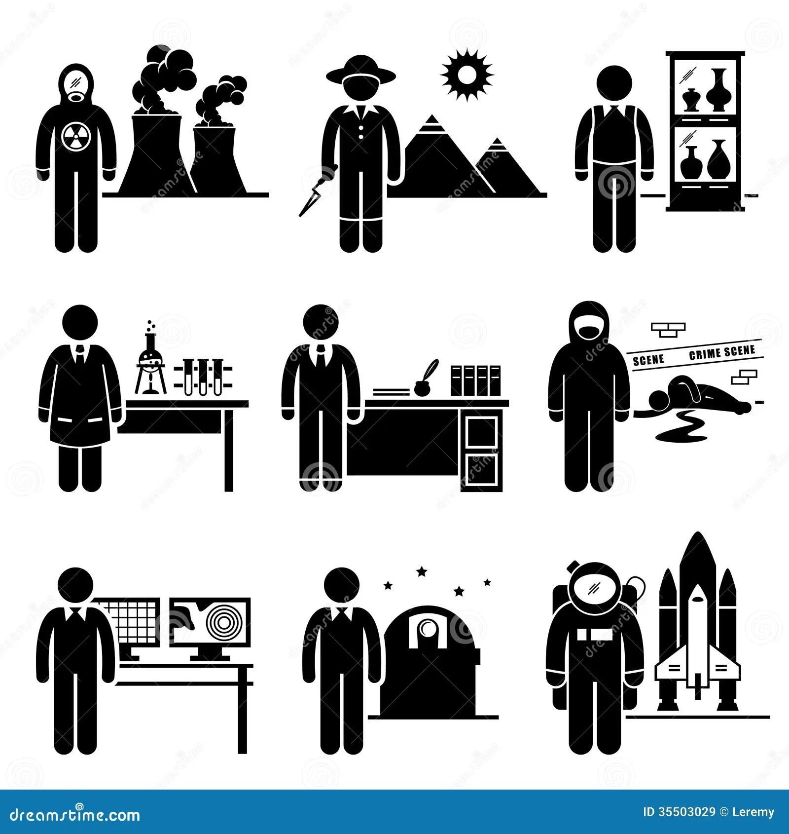 Scientist Professor Jobs Occupations Careers Stock Vector