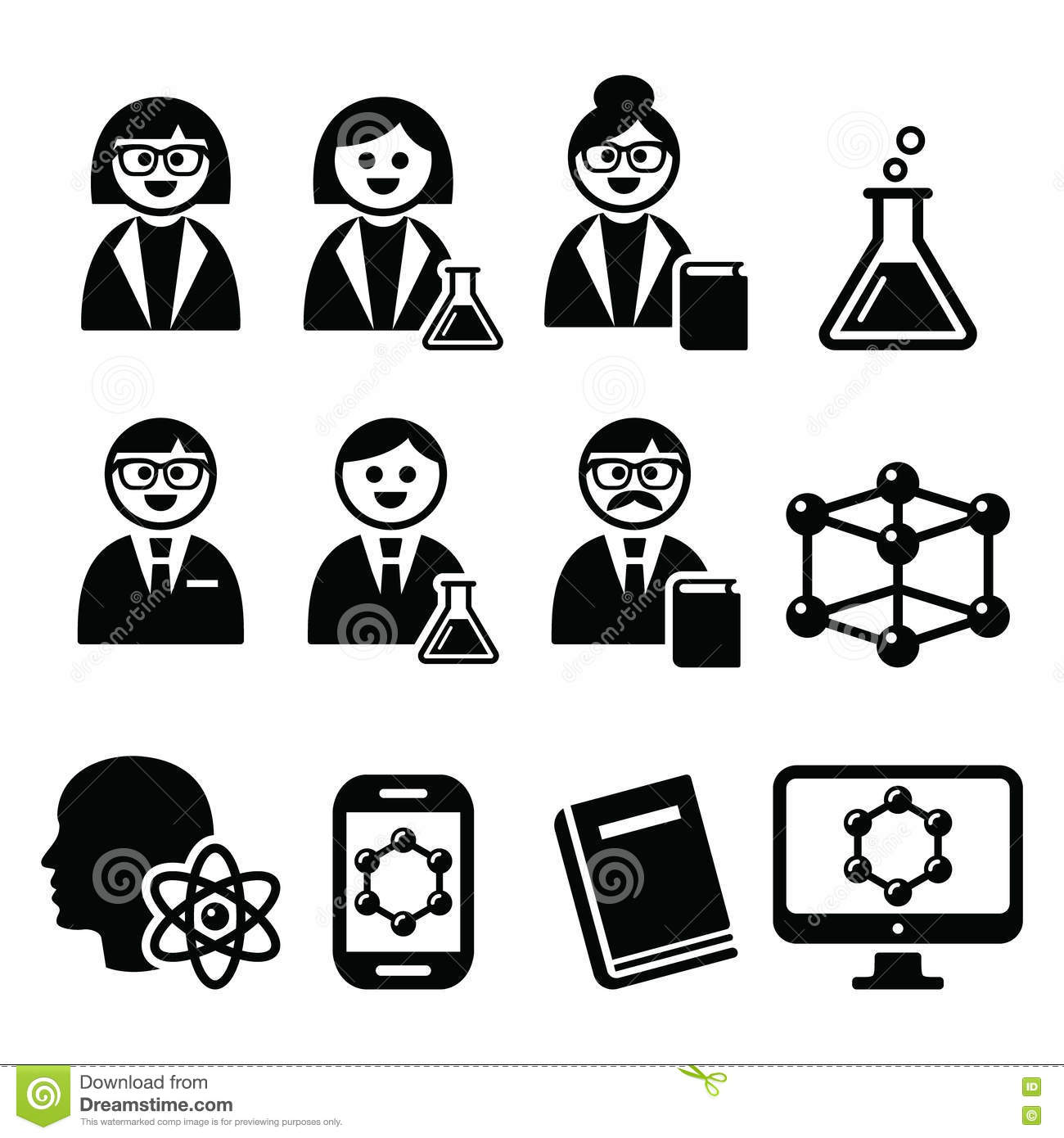 Scientist Woman And Man Science Icons Set Stock Vector