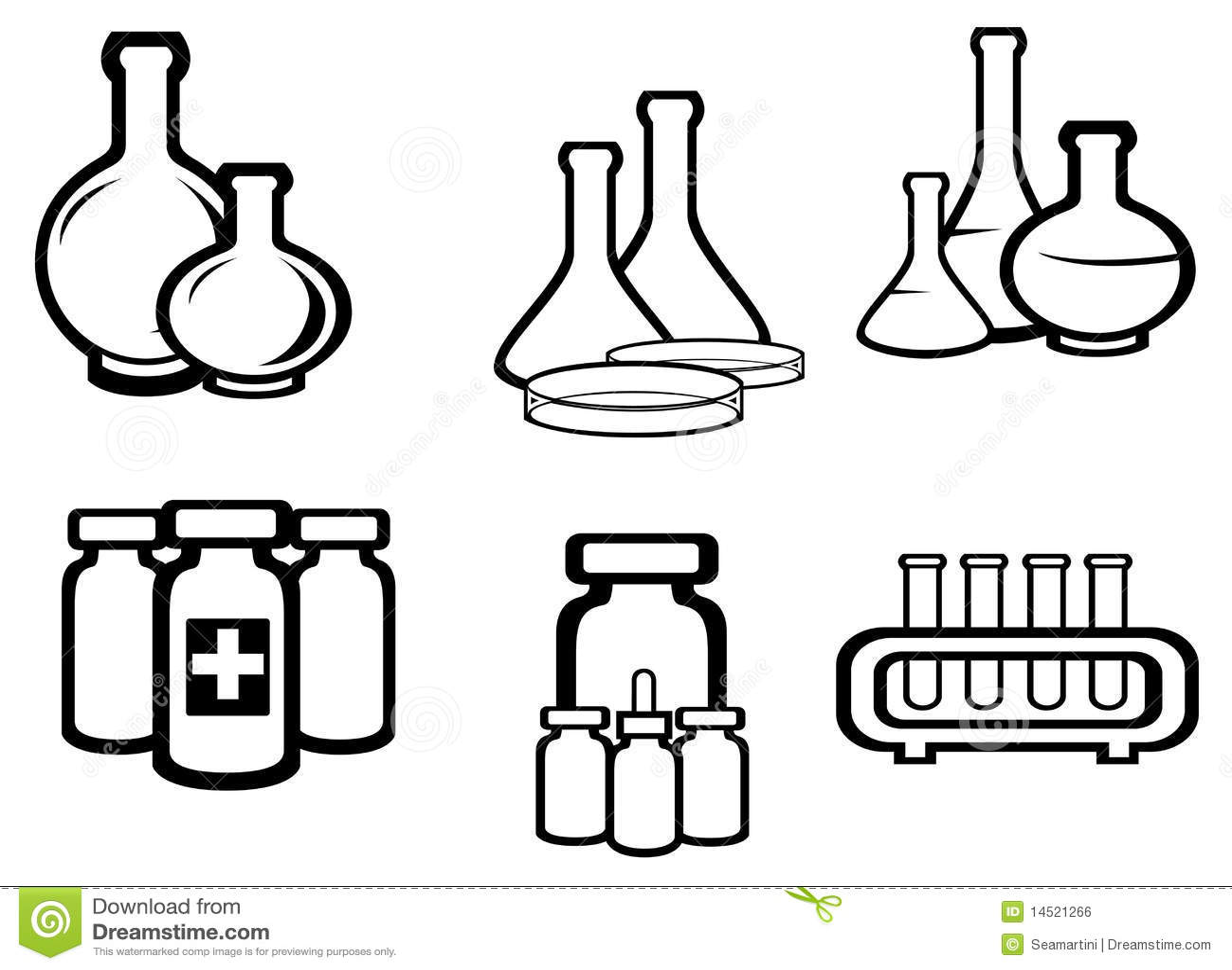 Scienza e boccette mediche illustrazione vettoriale