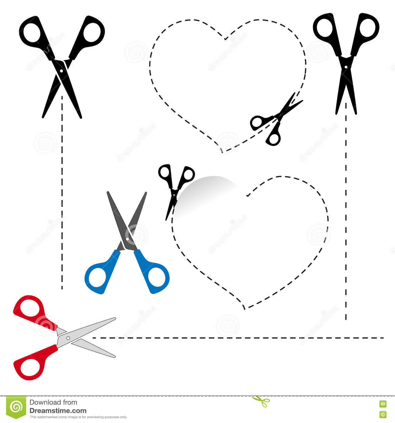 Scissors Cut Out The Shape The Dotted Line Stock Vector