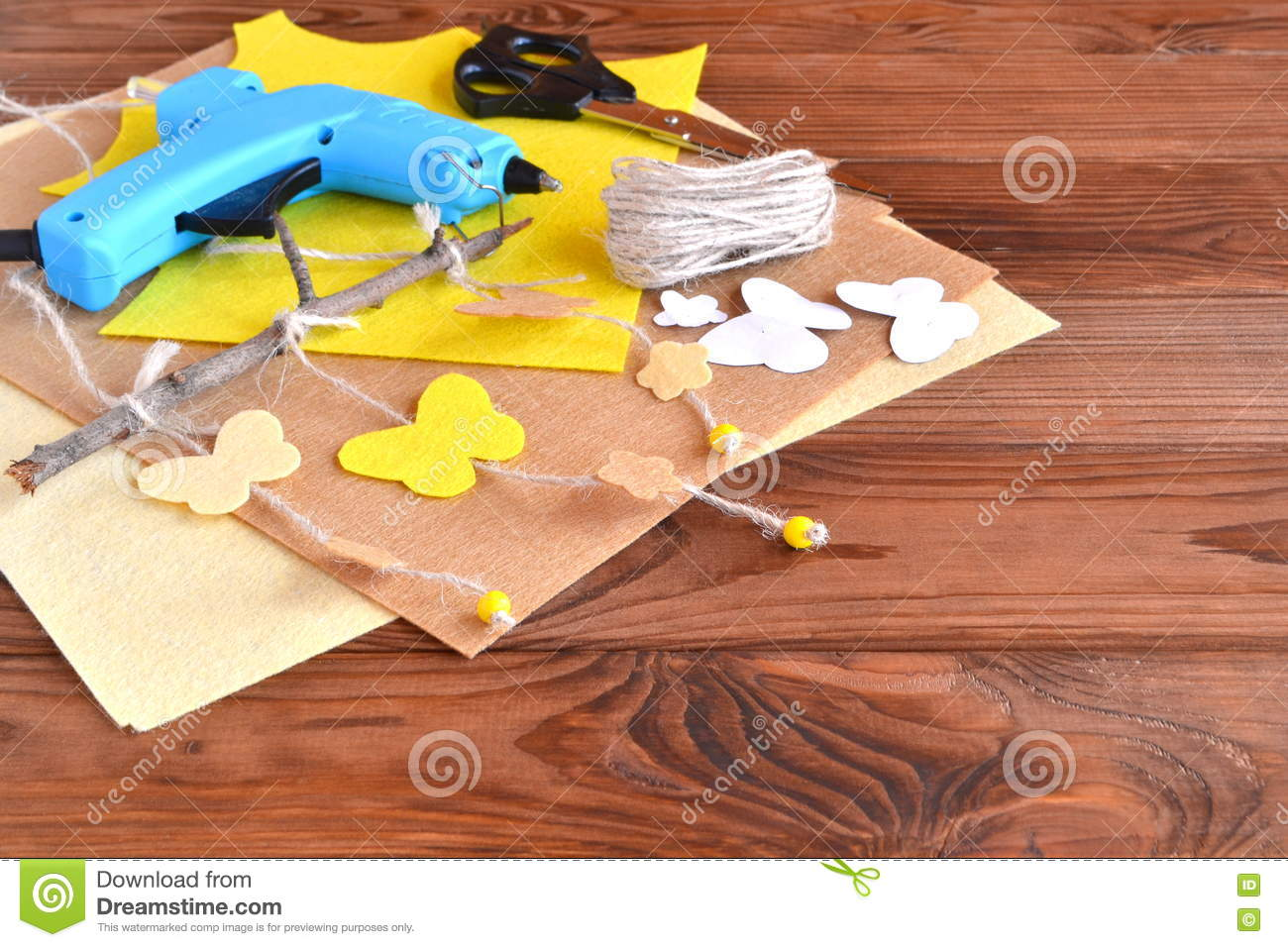 Scissors Hot Glue Gun Sheets Of Felt Decorative Pendant With Felt Butterflies And Flowers Wooden Background Stock Photo Image Of Interior Glue 74366276