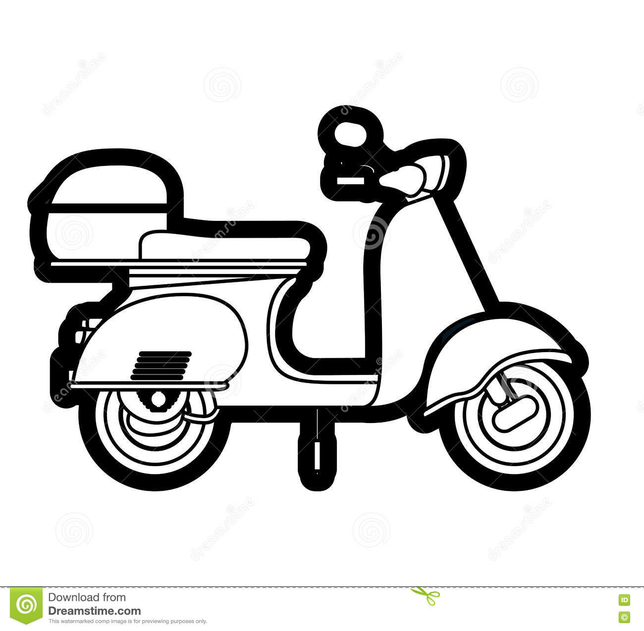 Scooter Drawing Isolated Icon Design Cartoon Vector