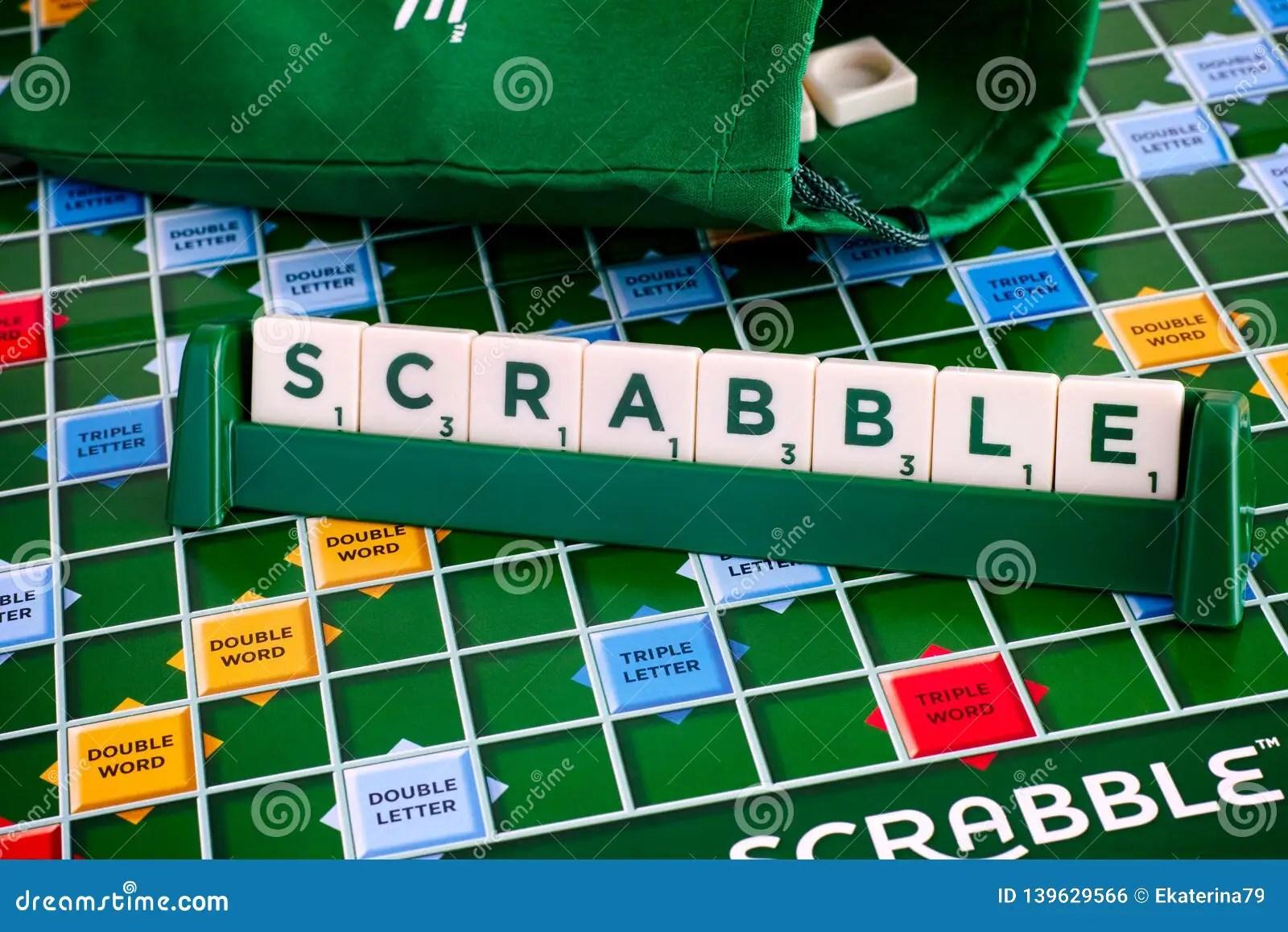 https www dreamstime com scrabble board game word scrabble letter tiles tile rack game board drawstring letter bag tambov russian image139629566